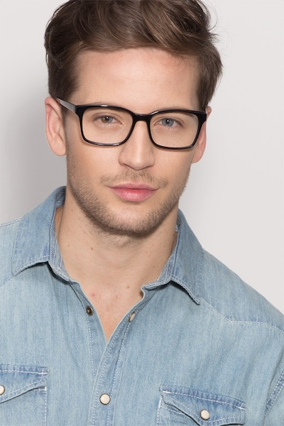Claudia Black Acetate Eyeglass Frames for Men from EyeBuyDirect, Front View