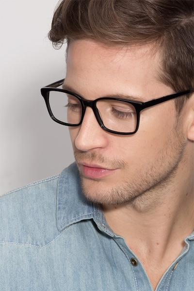 Claudia Black Plastic Eyeglass Frames for Men from EyeBuyDirect