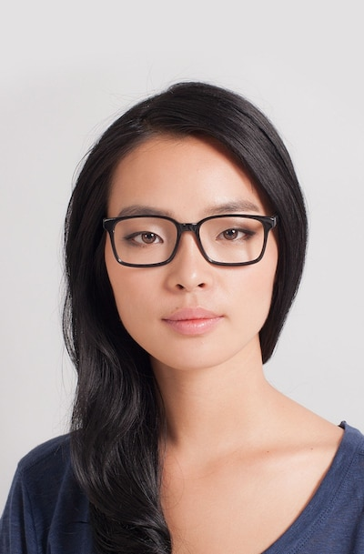 Claudia Black Acetate Eyeglass Frames for Women from EyeBuyDirect, Front View