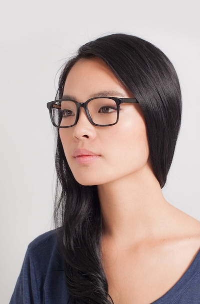 Claudia Black Plastic Eyeglass Frames for Women from EyeBuyDirect