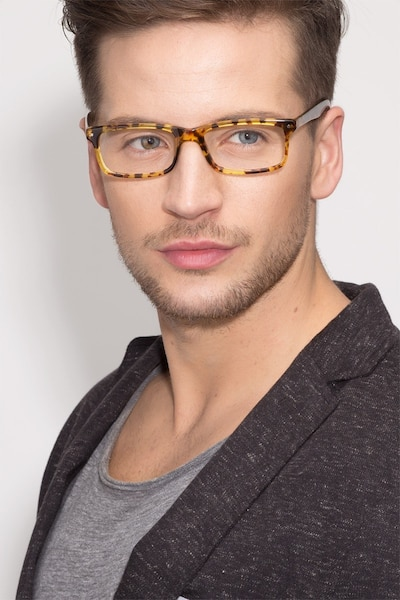 Mandi Tortoise Acetate Eyeglass Frames for Men from EyeBuyDirect, Front View