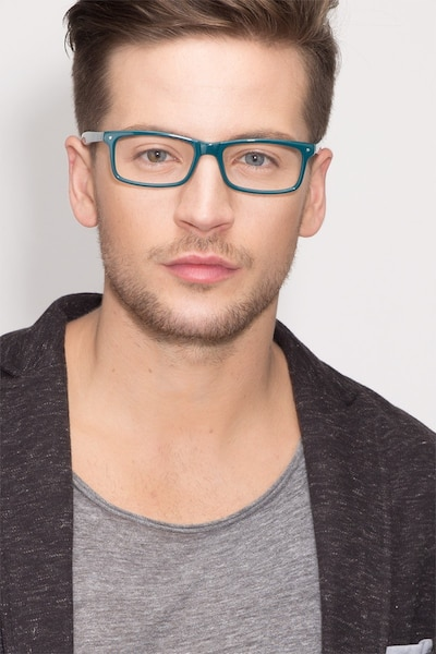 Mandi Teal Acetate Eyeglass Frames for Men from EyeBuyDirect, Front View