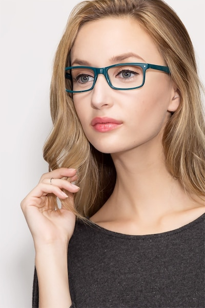 Mandi Teal Acetate Eyeglass Frames for Women from EyeBuyDirect, Front View