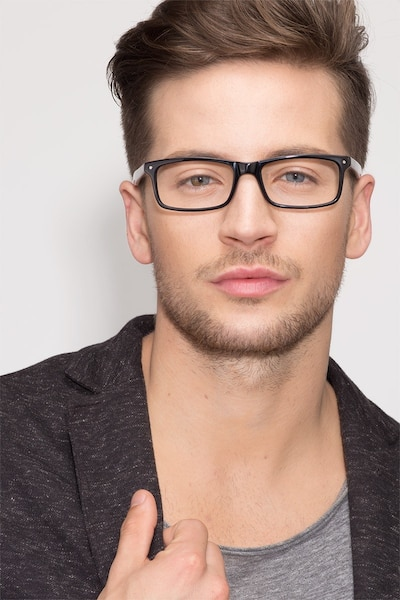 Mandi Black Acetate Eyeglass Frames for Men from EyeBuyDirect, Front View
