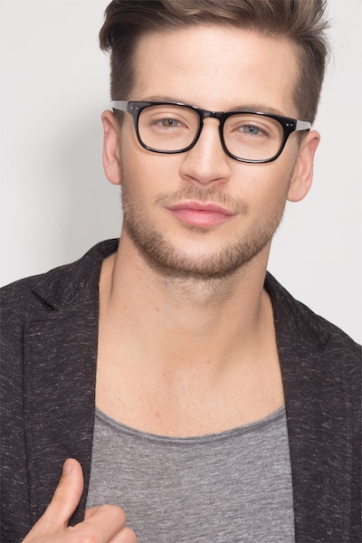 Carla Black Acetate Eyeglass Frames for Men from EyeBuyDirect, Front View