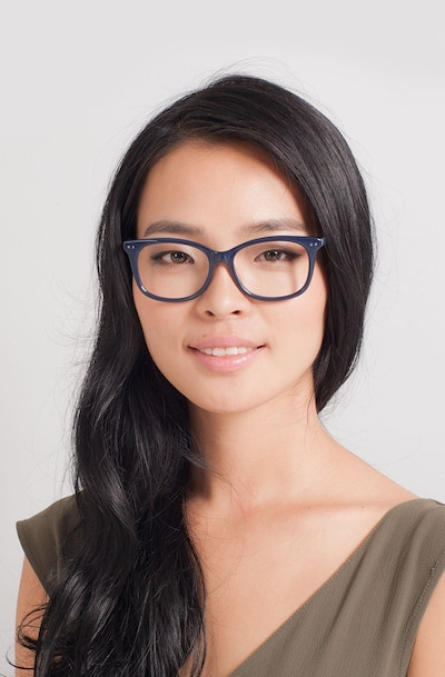 Brittany Navy Acetate Eyeglass Frames for Women from EyeBuyDirect, Front View