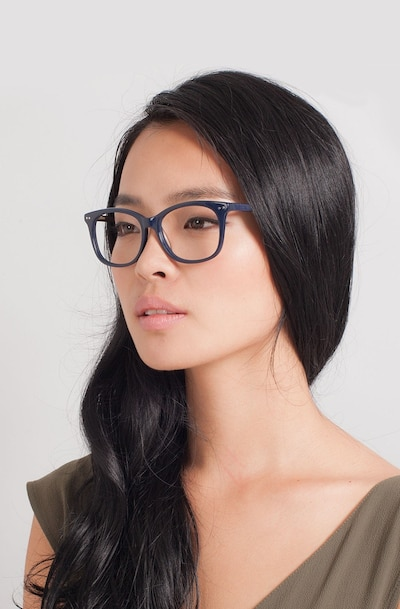 Brittany Navy Acetate Eyeglass Frames for Women from EyeBuyDirect