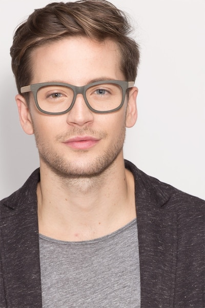 White Pine Olive Acetate Eyeglass Frames for Men from EyeBuyDirect, Front View