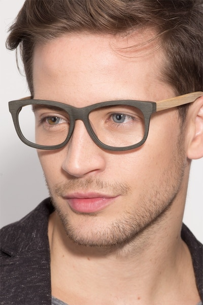 White Pine Olive Acetate Eyeglass Frames for Men from EyeBuyDirect