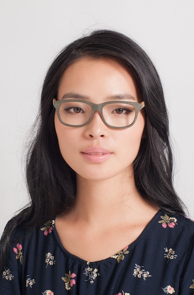 White Pine Olive Wood-texture Eyeglass Frames for Women from EyeBuyDirect, Front View