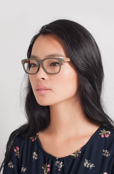 White Pine Olive Acetate Eyeglass Frames for Women from EyeBuyDirect