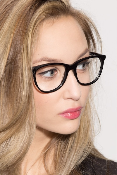 Anahi Black Acetate Eyeglass Frames for Women from EyeBuyDirect