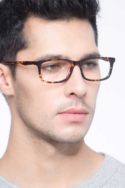 Pat Brown/Tortoise Acetate Eyeglass Frames for Men from EyeBuyDirect, Front View