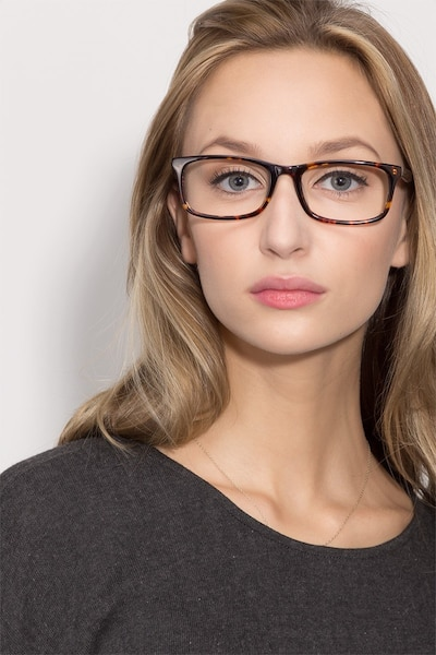 Pat Brown/Tortoise Acetate Eyeglass Frames for Women from EyeBuyDirect, Front View