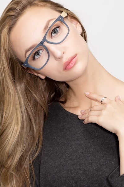 Indian Creek Blue Acetate Eyeglass Frames for Women from EyeBuyDirect