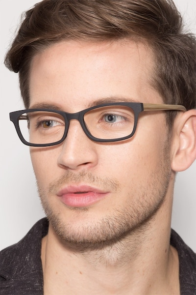 Mesquite  Black/Yellow Acetate Eyeglass Frames for Men from EyeBuyDirect