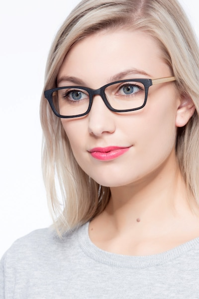 Mesquite  Black/Yellow Acetate Eyeglass Frames for Women from EyeBuyDirect, Front View
