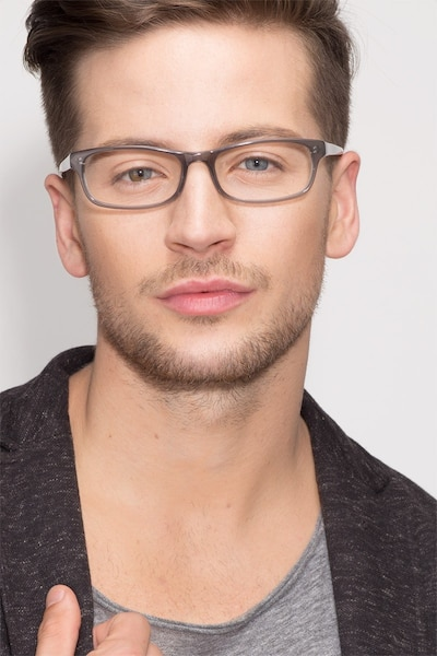 Opal Gray Acetate Eyeglass Frames for Men from EyeBuyDirect, Front View