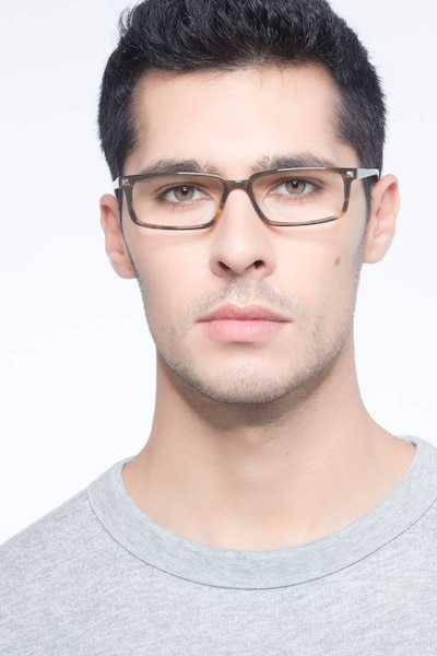 Hugo Brown Acetate Eyeglass Frames for Men from EyeBuyDirect, Front View