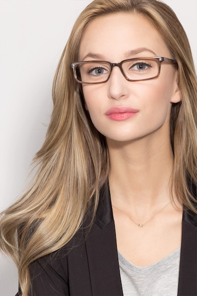 Hugo Brown Acetate Eyeglass Frames for Women from EyeBuyDirect, Front View