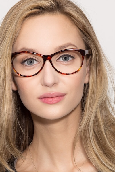 Sofia Tortoise Acetate Eyeglass Frames for Women from EyeBuyDirect, Front View