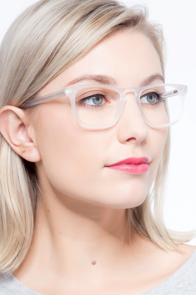 Rhode Island Matte Clear Acetate Eyeglass Frames for Women from EyeBuyDirect, Front View