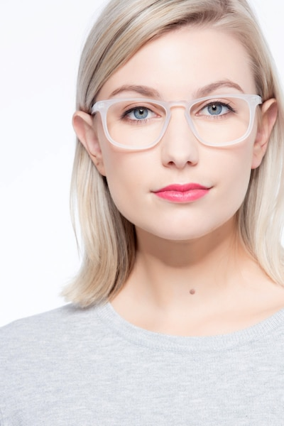 Rhode Island Matte Clear Acetate Eyeglass Frames for Women from EyeBuyDirect