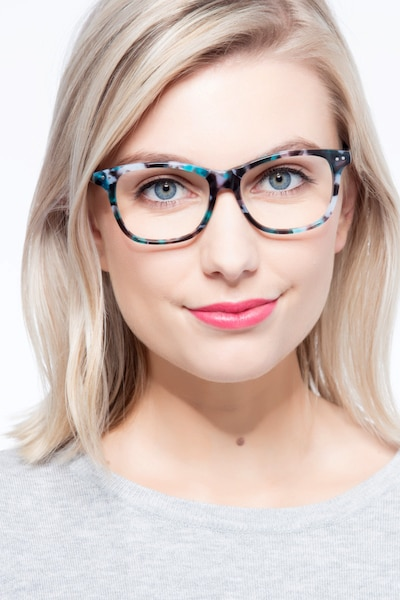 Almost Famous Nebular Blue Acetate Eyeglass Frames for Women from EyeBuyDirect, Front View