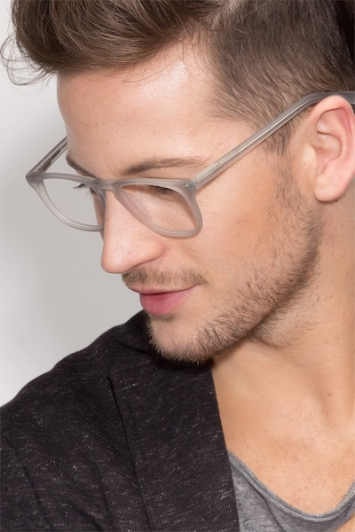 Rhode Island Matte Gray Acetate Eyeglass Frames for Men from EyeBuyDirect
