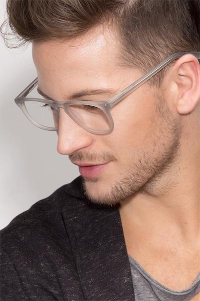 Rhode Island Matte Gray Acétate Montures de Lunettes pour Hommes d'EyeBuyDirect