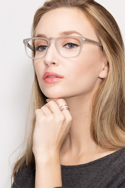 Rhode Island Matte Gray Acetate Eyeglass Frames for Women from EyeBuyDirect, Front View