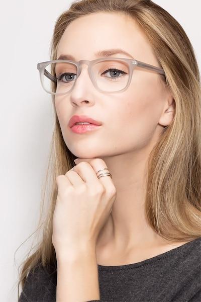 Rhode Island Matte Gray Acétate Montures de Lunettes pour Femmes d'EyeBuyDirect, Vue de Face