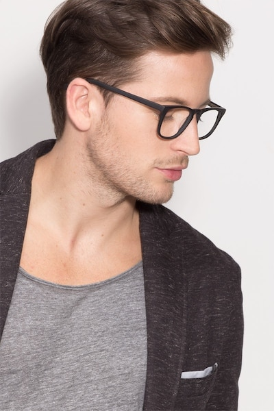 Rhode Island Matte Black Acetate Eyeglass Frames for Men from EyeBuyDirect, Front View