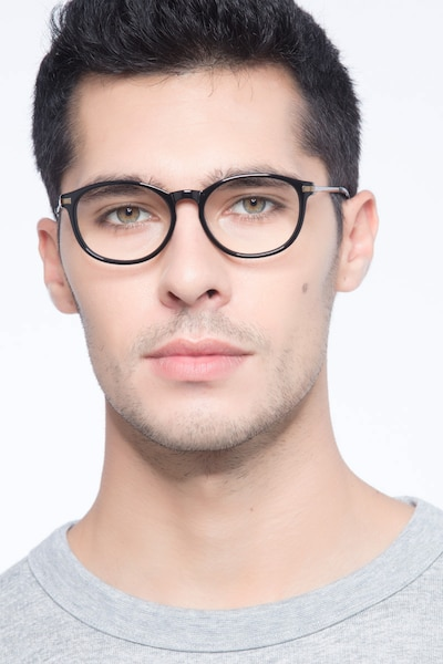 New Bedford Black Plastic Eyeglass Frames for Men from EyeBuyDirect, Front View