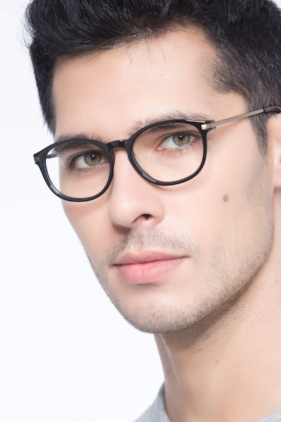 New Bedford Black Plastic Eyeglass Frames for Men from EyeBuyDirect