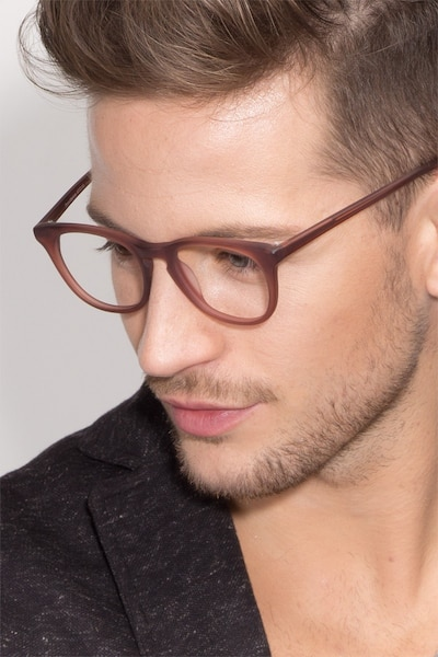 Providence Matte Brown Acétate Montures de Lunettes pour Hommes d'EyeBuyDirect