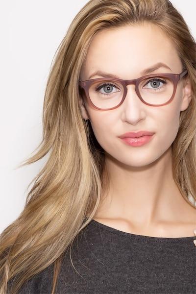 Providence Matte Brown Acétate Montures de Lunettes pour Femmes d'EyeBuyDirect, Vue de Face
