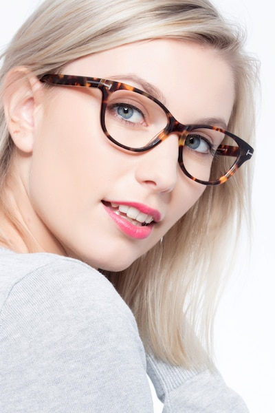 Mia Farrow Brown/Tortoise Acetate Eyeglass Frames for Women from EyeBuyDirect, Front View