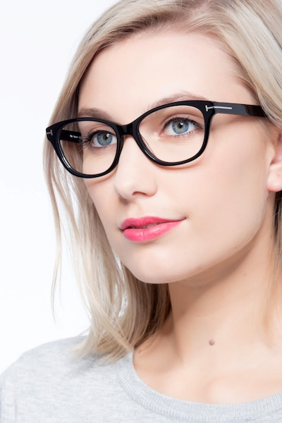 Mia Farrow Black Acetate Eyeglass Frames for Women from EyeBuyDirect, Front View