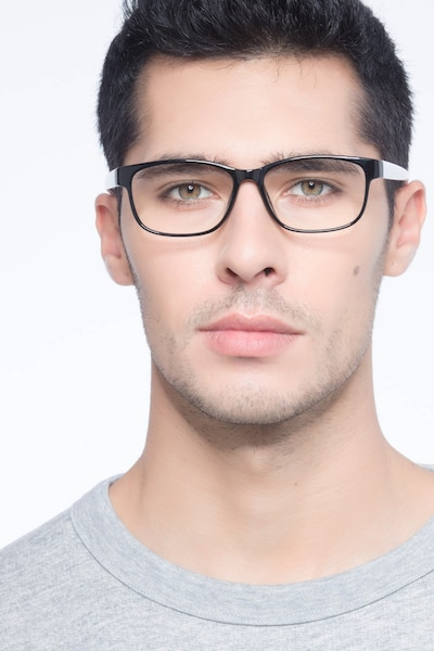Robbie Black/White Plastic Eyeglass Frames for Men from EyeBuyDirect, Front View