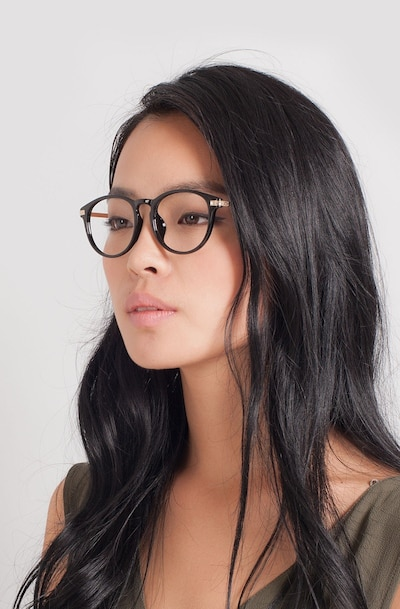 Daphne Black Plastic Eyeglass Frames for Women from EyeBuyDirect