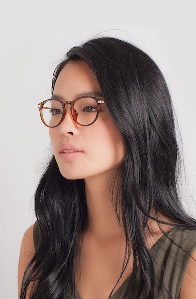 Daphne Brown/Tortoise Plastic Eyeglass Frames for Women from EyeBuyDirect, Front View