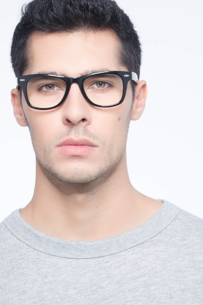 Atlee Black Plastic Eyeglass Frames for Men from EyeBuyDirect, Front View