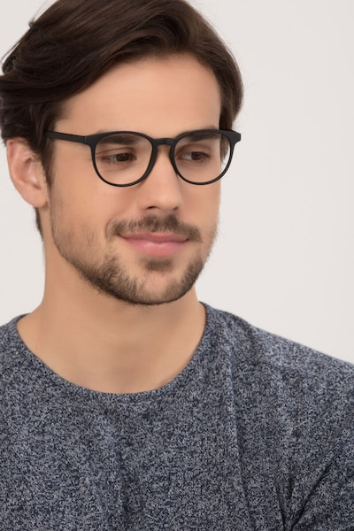 Chilling Black Plastic Eyeglass Frames for Men from EyeBuyDirect, Front View