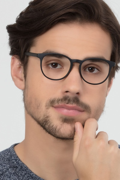 Chilling Black Plastic Eyeglass Frames for Men from EyeBuyDirect
