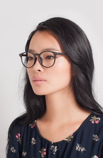 Chilling Black Plastic Eyeglass Frames for Women from EyeBuyDirect, Front View