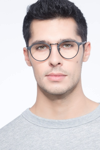 Chillax Matte Black/Gunmetal Metal Eyeglass Frames for Men from EyeBuyDirect, Front View