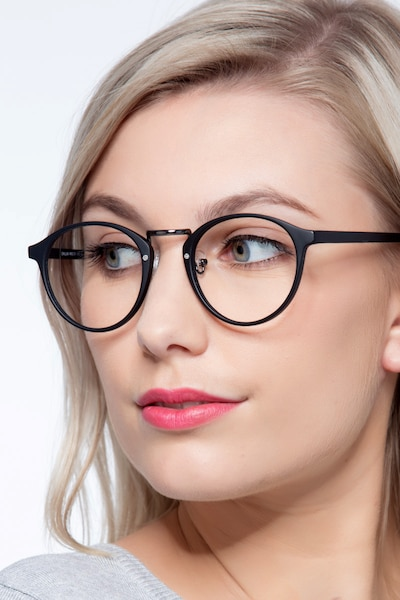 Chillax Matte Black/Gunmetal Metal Eyeglass Frames for Women from EyeBuyDirect