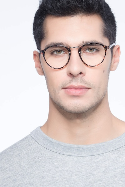 Chillax Red/Floral Metal Eyeglass Frames for Men from EyeBuyDirect