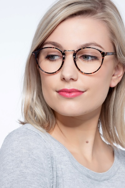 Chillax Red/Floral Metal Eyeglass Frames for Women from EyeBuyDirect, Front View